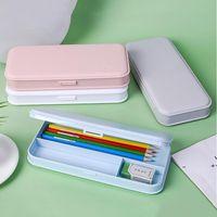 Capas de lápis de macaron para estudantes da escola primária fosco pp aprendizagem papelaria caixa de lápis para crianças fwb10287