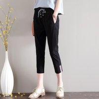 Pantalones de lino de algodón Pantalones 2021 de verano Thin Thin Thin Thin Point Stretch Flow Harem Capris