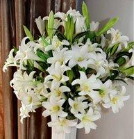 2021 Svelare 100 cm Fiore artificiale del giglio del fiore del fiore PVC Real Touch per la decorazione di nozze di casa e del giardino