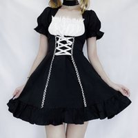 Dresses Qweek Women's Maid Kawaii Lolita Outfit French Milkmaid Costumes Cosplay Bandage Sexy Waitress Dress Puff Sleeve Uniform