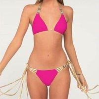 النساء مثير الصيف بيكيني عطلة بلون اللون عارية الذراعين ضمادة ملابس السباحة دعوى السباحة مع شرابة الذهبي
