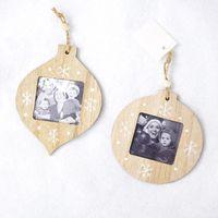 Christmas Decorations Sublimation Blanks Pendant DIY Photo Pendant Wooden Photo Frame Christmas Gifts Xmas Tree Ornament DHE8717
