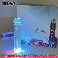 100% Orijinal Vidge Flare Tek Kullanımlık Kiti E-Sigaralar RGB Işık Cihazı 500 mAh Pil 3 ml Pods 800Puffs Vape Kalem Önceden doldurulmuş buharlar XXL