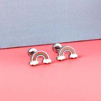 Dangle & Chandelier ASONSTEEL Gold Silver Color Cute Children's Ear Stud 316L Stainless Steel Rainbow Small Earrings For Girl Women Fashion