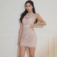 Casual Dresses Pink Summer Lace Dress Women O-Neck Sleeveless High Waist Mini Sheath Korean Bodycorn Party Plus Size Floral C311