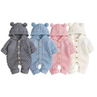 Born Baby Boy Girl Knit Romper Hooded Sweater Jumpsuit Winter Warm Clothes Clothing Sets