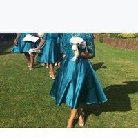 Deniz Teal Çay Boyu Nedime Elbiseleri Ile Yarım Kollu Vintage Dantel A-Line Sheer Bateau Düğün Konuk Elbise Anne Parti Abiye Örgün Giyim