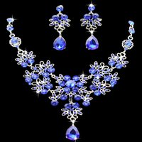 6 colors women Bling Crystal Bridal Jewelry Set silver diamond Wedding statement necklace Dangle Earrings for bride Bridesmaids wjl2328