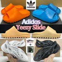 النعال Adidas Kanye West Yeezy الرجال النساء الشريحة الأحذية enflame البرتقال الصحراء الرمال العظام الأرض براون ساحل الصيف رغوة عداء أرارات الثلاثي حذاء أسود