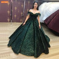 Green Evening Gowns Off Shoulder Sequined Ball Gown Robe De Soiree Sexy Women Dress Formal Long 2020 Custom Made Dresses