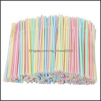 Drinking Barware Kitchen, Dining Home & Gardendrinking Sts 200 Pack Plastic 8 Inches Long Mti-Colored Striped Bedable Rainbow Bendy St Bar A