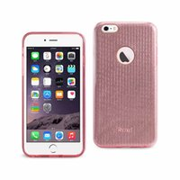 Reiko iPhone 6 Plus / 6s Plus Shein Shein Strip Striper Striper Hybrid Cas hybride en rose linéaire / argent