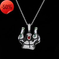 Cartoon character gorilla takes money bag personality hip hop trendsetter pendant full of zircon color large Necklace Jewelry