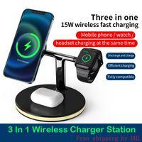 3 in 1 Universal Magnetic WLAN-Ladegerät 15W Handy Fast Ladestation Ladegeräte Stand für Uhr SE 6 5 4 2 iphone 12 11 mini max xs x xr
