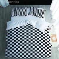 Bedding Sets 3D Digital Printing Custom Set Black White Checkered Pattern Duvet Cover Twin Full Queen King Size Bedclothes