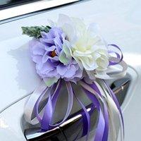 장식 꽃 화환 1pc 문 손잡이 꽃 아름다운 결혼 파티 축제 용품 백미 미러 장식 웨딩 자동차 Decoratio