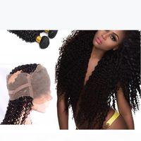 360 кружева лобное закрытие с 3 пучками Бразильская волна kinky вьющиеся девственные волосы с закрытием мокрые и волнистые вьющиеся 360 кружева фронтальные черные