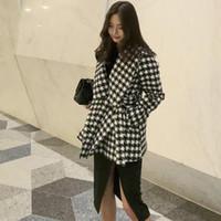 Women Woolen Coat Belt Jacket Fashion Casual Ladies Short Plaid Color Loose Women's Big Lapel Top Wool & Blends