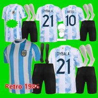 21 22 Argentinien Home und Away Soccer Jerseys Messi Dybala Kinderausrüstung Football Jersey Aguero Icardi Mascherano Camiseta de Futbol Set