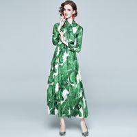Casual Dresses 2021 Spring Holiday Style Vestidos Female Bow Tie Collar Chiffon With Silk Scarf Lining Printed Big Swing Midi Dress GL227