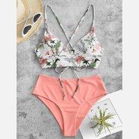 Women Two Piece Flower Print Split Sets Plus Size Beachwear Swimsuit Bikini Bathing Suit Summer Brazilian 2021 Women's Swimwear