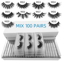 False eyelashes faux cils eye tail elongated style mix 10 styles 3d mink eyelash natural long hand made makeup transparent lash boxes without color bottom card