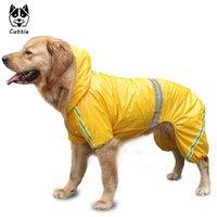 크고 작은 강아지를위한 Cuttie 개 비옷 Yorkies 방수 노란색 큰 바지 레인 코트 의류