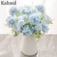 Hydrangea Artificial Flowers Peony Bouquet Silk Ball Blooming Fake Flower Wedding Centerpieces Stage Home Table Decoration Blue