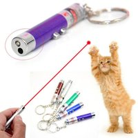 Cat Toys LED Laser Pet Toy Funny 2-in-1 Red Dot Lazer Pen Pointer Keychain Keyring Torch Interactive Dog Stick Supplies