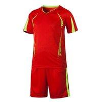 Детские футбольные Униформа Наборы Спортивные футбольные трикотажки + брюки костюм с коротким рукавом Пустой костюм для детей для детей