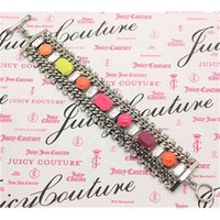 Luxury Niche Design High Sense Candy Color Wide Personalized Diamond Crystal Zircon Bracelet Women's Fashion Jewelry
