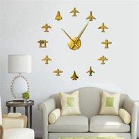 비행 비행기 전투기 제트 현대 큰 벽시계 DIY 아크릴 미러 효과 스티커 비행기 침묵 벽 시계 Aviator 홈 장식 LLD6606