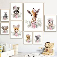 Paintings Cute Cartoon Animal Picture Home Wall Modern Art Print And Poster Flower Backdrop Canvas Painting For Kids Bedroom Design