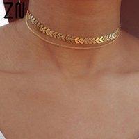 Zn Fashion Fishbone Pfeilkopf Halskette Chunky Kette BIB Choker für Frauen Schmuck Geschenke Y0309