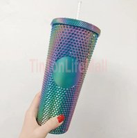 Popular Trend Durian Personalized 24oz Iridescent Bling Rainbow Unicorn Studded Cold Cup Tumbler coffee mug with straw FY4488