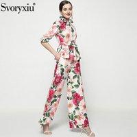 SVORYXIU 2021 Moda Pist Yaz Iki Parçalı Set kadın Zarif Büyük Çiçek Baskı Bluz + Geniş Bacak Pantolon Takımları Eşofmanlar
