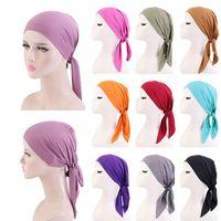 Beanie Skull Caps Female Muslim Women Ribbon Chemotherapy Solid Color Confinement Cap Elastic Turban Hat Breathable Hats Baotou