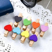 Forniture per feste Carino Clip di legno Colorato Clip a forma di cuore Clothespins Clip Paper PEG HWD5837