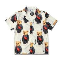 2021 Европа весенние летние мужчины Гавайи пляж с коротким рукавом повседневная рубашка прохладный хип хмель мультфильм медведь дизайнер тройник