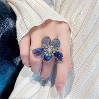2021 Fashion Crystal Petal anelli per le donne in oro argento colore aperto regolabile femminile esagerato anello dell'ingebinger gioielli