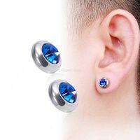 Magnetic Clip on Diamond Earrrings Allergy Free Stainless Steel Ear rings dtud Women men Fashion jewelry will and sandy Red black