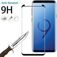 حامي الشاشة ل Galaxy Note 20 Ultra 10 S20 S21 S9 S10 زائد 3D كامل الزجاج المقسى منحني بدون ثقب بصمة فتح
