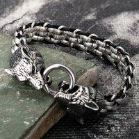 Cabeça de lobo pulseiras de aço inoxidável de aço inoxidável charme couro punk biker jóias rocha viking pulseira acessórios de moda presentes 210323