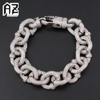 Link, Chain AZ 17mm Iced Out O Cuban Link Bracelets For Men Women With Bling Zircon Stone Hip Hop Miami Hand Goth Jewelry