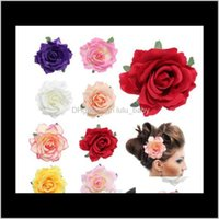 & Barrettes Jewelry Drop Delivery 2021 26 Color Bridal Rose Flower Hairpin Women Clips Brooch Wedding Bridesmaid Headdress Headwear Party Fes