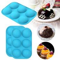 Bolo de cupcake DIY muffin ferramenta de cozinha 6 furos silicone molde de cozimento para cozer 3d bakeware chocolate meia esfera esfera molde dwe8015