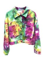 Women's Jackets Casual Heavy Art Tie Dye Rainbow Fall Jeans Jacket 2021 Lady Fashion Top Bomber Sequin XL