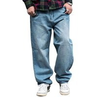 Hombres holggy jeans steadwear pantalones en forma rectos relajados hip hop patineta luz azul ancho pierna pantalones de mezclilla tamaño 46 hombres