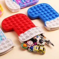 Fidget Toys Push Bubble Christmas Coin Purse Favor Xmas Hat Socks Glove Shape Wallet Case Bubbles Zipper Bag Educational Stress Relief Toy Pouch