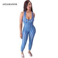 Женские комбинезоны Rompsers Anjamanor Sexy Infated без рукавов полосатый печатный комбинезон для женщин Летняя активная одежда Sporty One Piece BodyCon D45-BI